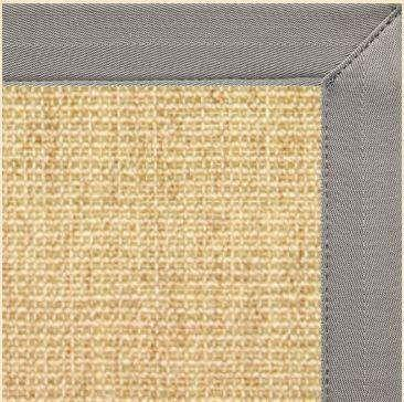 Sand Colored Sisal Area Rug with Coin Canvas Border