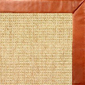 Sand Octagon Sisal Rug with Whiskey Leather Border