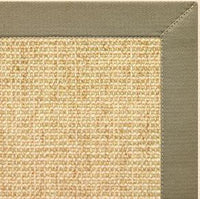 Sand Sisal Rug with Basil Green Cotton Border - Free Shipping