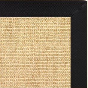Sand Sisal Rug with Black Onyx Cotton Border - Free Shipping