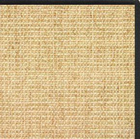 Sand Sisal Rug with Black Serged Border - Free Shipping