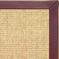 Sand Sisal Rug with Burgundy Leather Border - Free Shipping