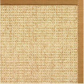 Sand Sisal Rug with Butter Rum Cotton Border - Free Shipping