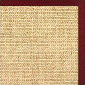 Sand Sisal Rug with Cardinal Red Cotton Border