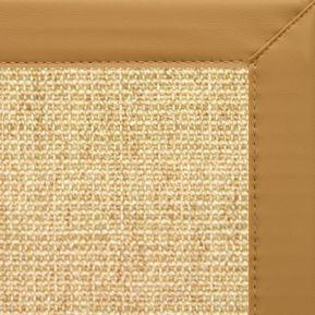 Sand Sisal Rug with Chamois Faux Leather Border