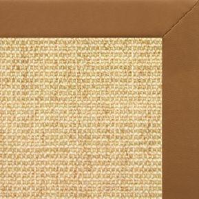Sand Sisal Rug with Cinnamon Faux Leather Border - Free Shipping