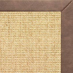 Sand Sisal Rug with Coco Faux Leather Border - Free Shipping