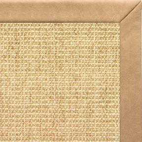 Sand Sisal Rug with Desert Faux Leather Border - Free Shipping