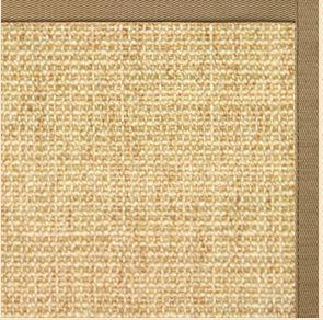 Sand Sisal Rug with Green Mist Cotton Border