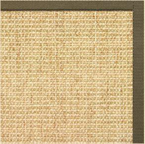 Sand Sisal Rug with Khaki Green Cotton Border - Free Shipping