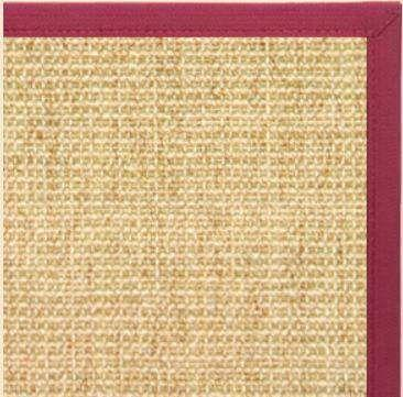 Sand Sisal Rug with Maroon Wide Canvas Border - Free Shipping