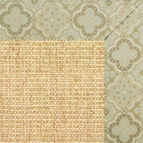 Sand Sisal Rug with Medallions Tapestry Border - Free Shipping