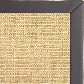 Sand Sisal Rug with Midnight Faux Leather Border - Free Shipping