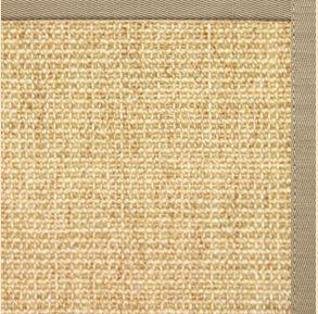 Sand Sisal Rug with Moon Rock Gray Cotton Border