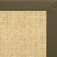 Sand Sisal Rug with Moss Faux Leather Border - Free Shipping