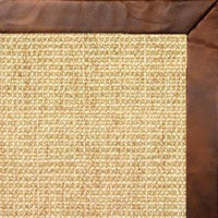 Sand Sisal Rug with Oak Leather Border - Free Shipping