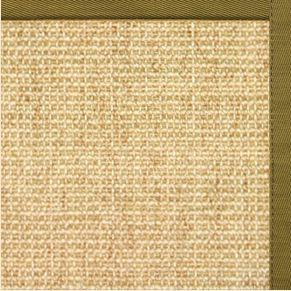 Sand Sisal Rug with Olive Green Cotton Border
