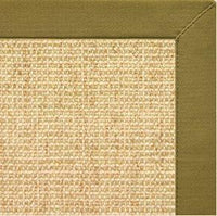 Sand Sisal Rug with Olive Green Cotton Border - Free Shipping