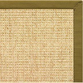 Area Rugs - Sustainable Lifestyles Sand Sisal Rug With Olive Green Cotton Border