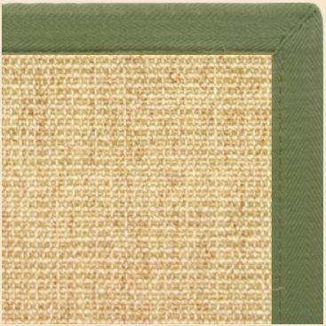 Sand Sisal Rug with Olive Green Extra Wide CanvasBorder