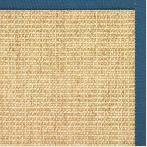 Sand Sisal Rug with Paradise Blue Cotton Border