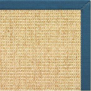 Sand Sisal Rug with Paradise Blue Cotton Border - Free Shipping