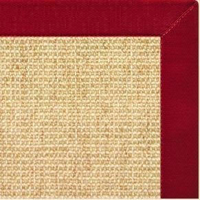 Sand Sisal Rug with Poppy Cotton Border - Free Shipping