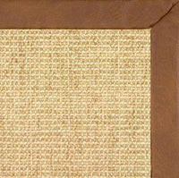 Sand Sisal Rug with Rawhide Faux Leather Border - Free Shipping