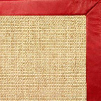 Sand Sisal Rug with Red Leather Border - Free Shipping