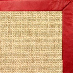 Sand Sisal Rug with Red Leather Border
