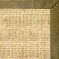 Sand Sisal Rug with Sage Leather Border - Free Shipping