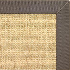 Sand Sisal Rug with Silver Shadow Cotton Border - Free Shipping