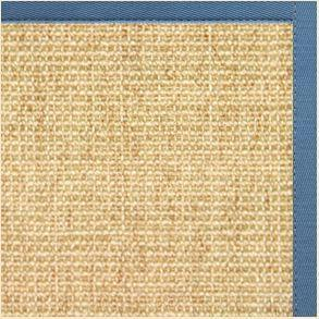 Sand Sisal Rug with Slate Blue Cotton Border