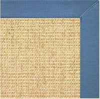 Sand Sisal Rug with Slate Blue Cotton Border - Free Shipping