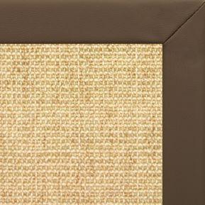 Sand Sisal Rug with Stone Faux Leather Border - Free Shipping
