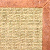 Sand Sisal Rug with Tan Leather Border - Free Shipping
