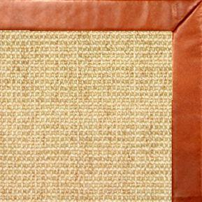 Sand Sisal Rug with Whiskey Leather Border - Free Shipping