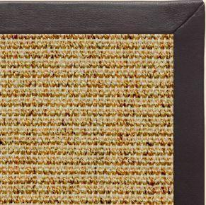 Spice Sisal Rug with Black Leather Border - Free Shipping
