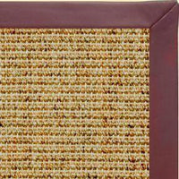 Spice Sisal Rug with Burgundy Leather Border - Free Shipping