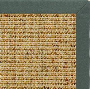 Spice Sisal Rug with Green Linen Border