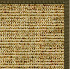Spice Sisal Rug with Lichen Green Cotton Border