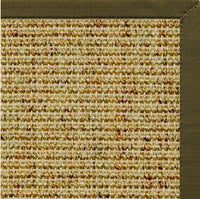 Spice Sisal Rug with Lichen Green Cotton Border - Free Shipping