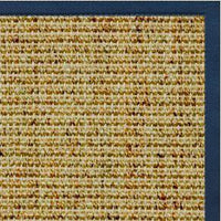 Spice Sisal Rug with Marina Blue Cotton Border - Free Shipping