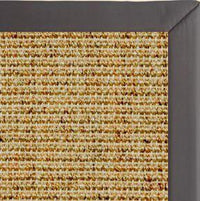 Spice Sisal Rug with Midnight Faux Leather Border - Free Shipping
