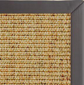 Spice Sisal Rug with Midnight Faux Leather Border