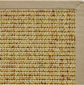Spice Sisal Rug with Moon Rock Gray Cotton Border - Free Shipping