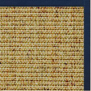 Spice Sisal Rug with Navy Blue Cotton Border - Free Shipping