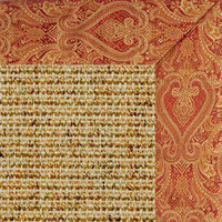 Spice Sisal Rug with Paisley Tapestry Border - Free Shipping