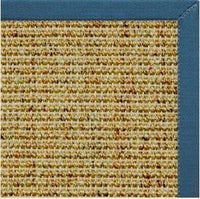 Spice Sisal Rug with Paradise Blue Cotton Border - Free Shipping