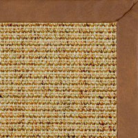 Spice Sisal Rug with Rawhide Faux Leather Border - Free Shipping